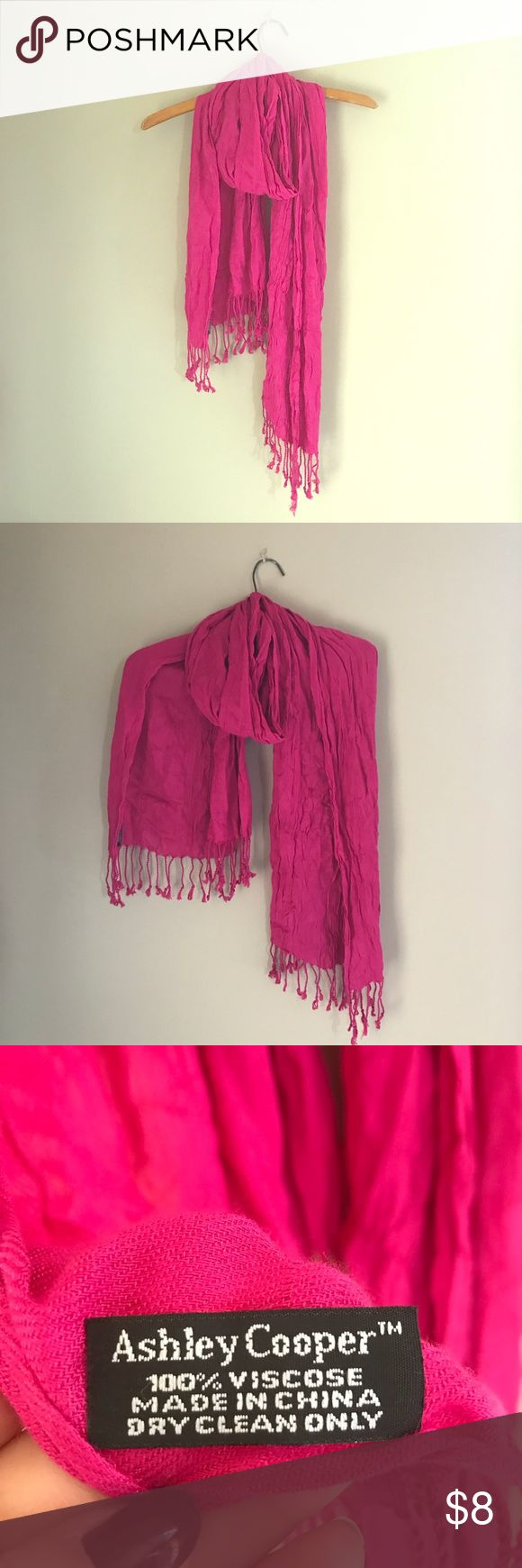 Pink Ashley Cooper scarf Bright pink Ashley Cooper scarf.  100% Viscose  *Dry clean only  Very minor pulls. Ashley Cooper Accessories Scarves & Wraps