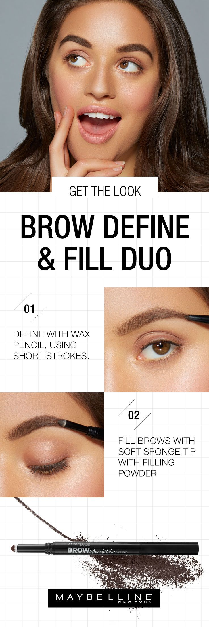 Bold brows are back. Add the Brow Define & Fill Duo from Maybelline to your makeup routine for naturally full, long-lasting arches. The wax pencil shapes your brows and the filling powder finishes those arches into things of beauty. Get ready to flaunt some serious brow by following this easy get the look beauty tutorial.