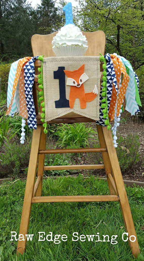 FOX Birthday Banner Highchair High Chair Party Hunting Tribal