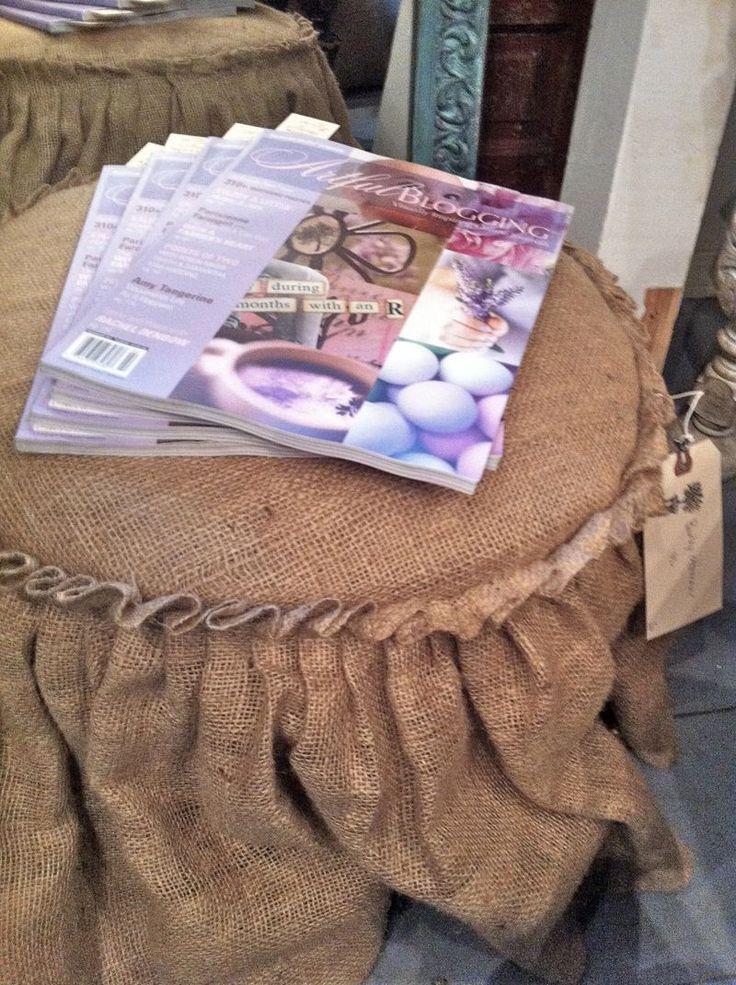 burlap: Burlap Slipcovered, Burlap Ottoman, Burlap Ideas, Footstool Slipcover, Burlap Footstool, Project Ideas, Furniture, Craft Ideas, Crafts