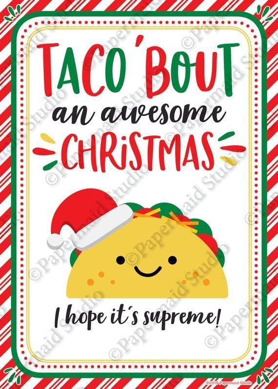 Series Themes For Christmas 2020 On Hope PRINTABLE Taco Christmas Card Taco Gift Card Holder | Etsy in 2020