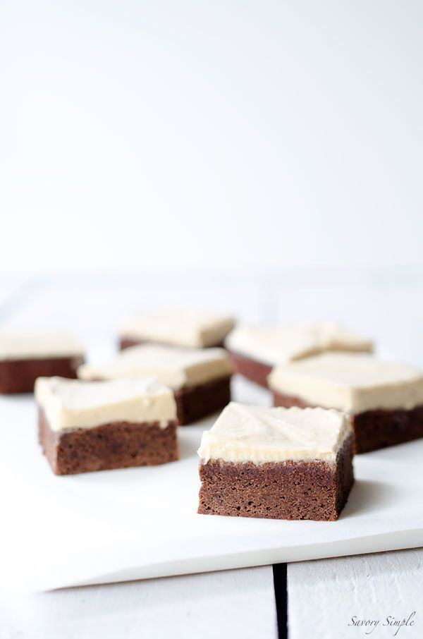 Chocolate Brownies with Salted Tahini Frosting