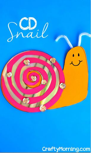 cd-snail-craft-for-kids, craft, recycle, children, elementary school, knutselen, kinderen, basisschool, slak van oude cd