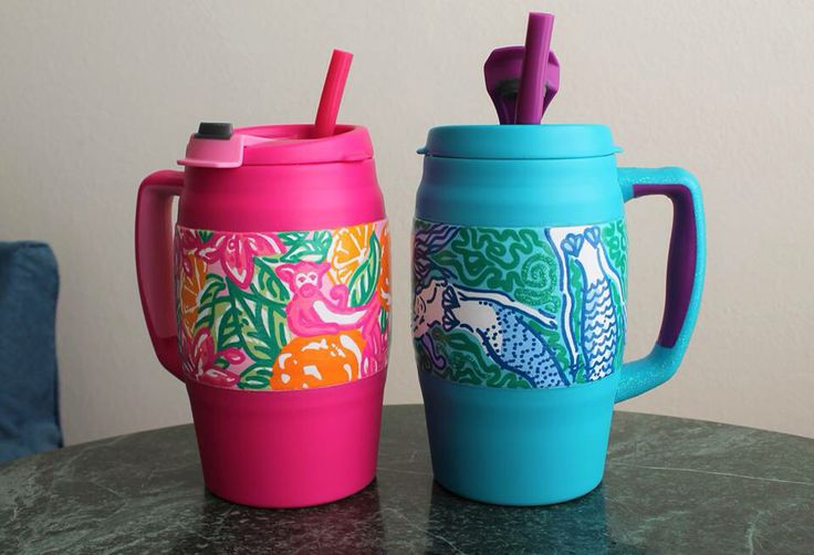 "Lilly Pulitzer inspired hand painted Bubba Keg Mug - ""Peelin Out"" and ""Nice Tail"" - ByTheBells on Etsy and Facebook!"