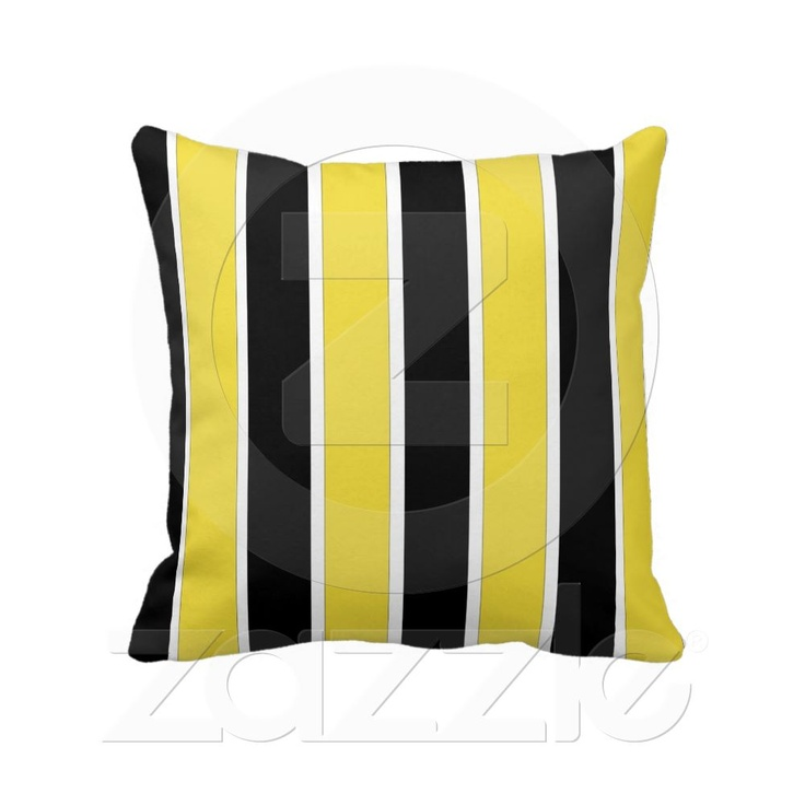 Black, white and yellow stripes American MoJo Pill Throw Pillow Accent pillows, Yellow stripes ...