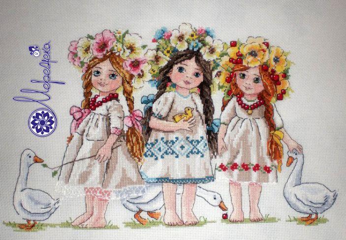 Friends, girls. cross stich, merejka, wreath, goose
