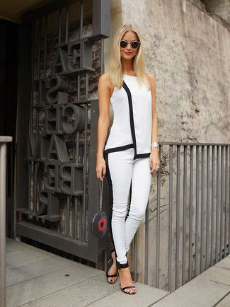 Women's White and Black Sleeveless Top, White and Black Skinny Pants, Black Leather Heeled Sandals, Black Print Leather Clutch