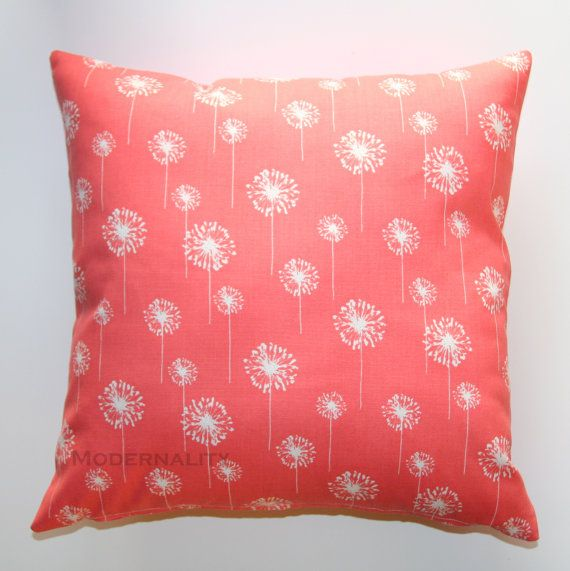Small Coral Throw Pillows : INDEPENDENCE DAY SALE- Premier Prints Small White Dandelion on Coral Pillow Cover- 18x18 inches ...