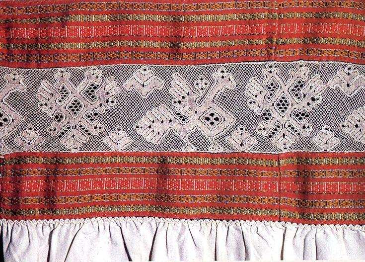 Деталь подола женской рубахи  Конец XIX века  Лён, шерсть, хлопок, многопарное плетение, браное ткачество