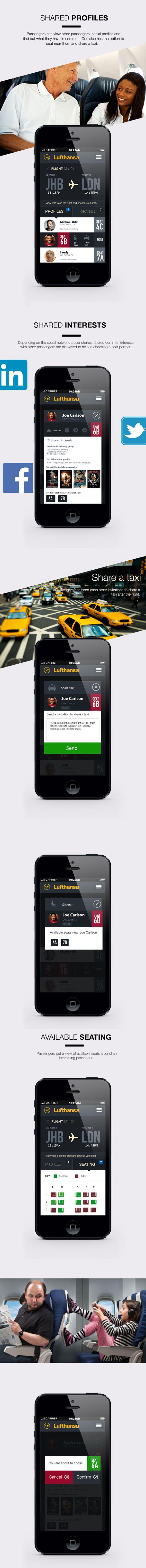 Lufthansa - Sky Connect IOS7 app by Calvin Pedzai, via Behance