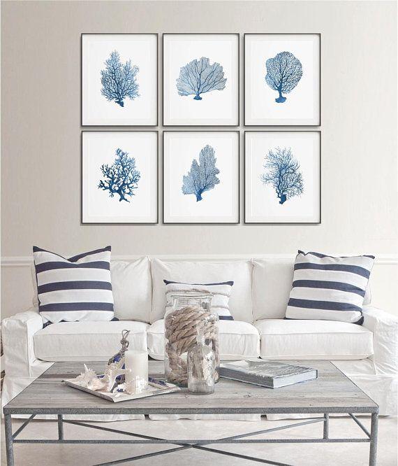 Coastal Art Print Printable Corals Set Of 6 Sea Corals Kid Etsy Coastal Bedrooms Coastal Living Room Furniture Home Decor