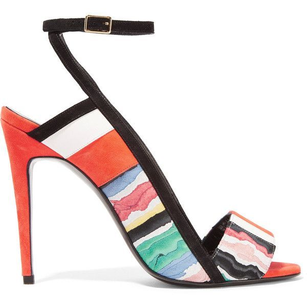 Pierre Hardy Leather-trimmed printed suede sandals ($370) ❤ liked on Polyvore featuring shoes, sandals, heels, multi, strappy high heel sandals, high heel shoes, strap sandals, strappy shoes and multi color high heel sandals