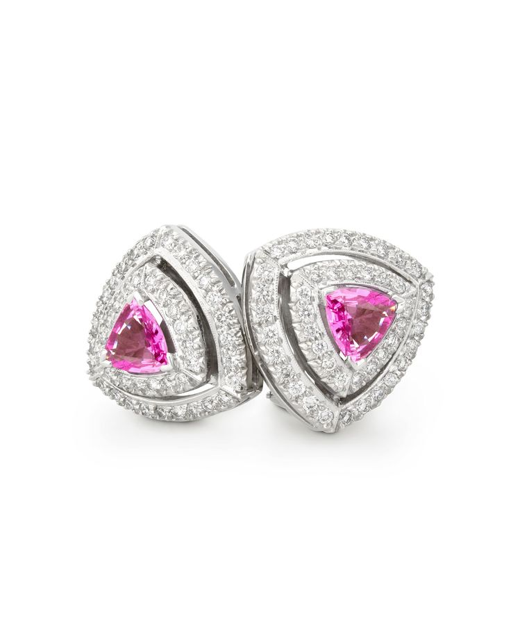 #JennaClifford - Trilliant cut pink sapphire earrings