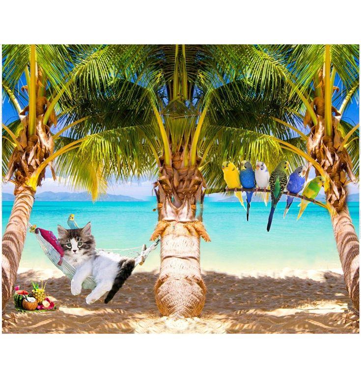 Stofgiganten - digitalprint af kat i hængekøje, jersey - oeko tex 100