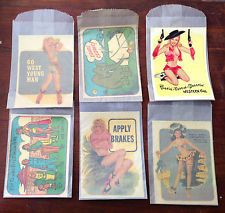 6 VINTAGE SOUVENIR TRAVEL DECALS NOS-cowgirl-pin up- cartoons