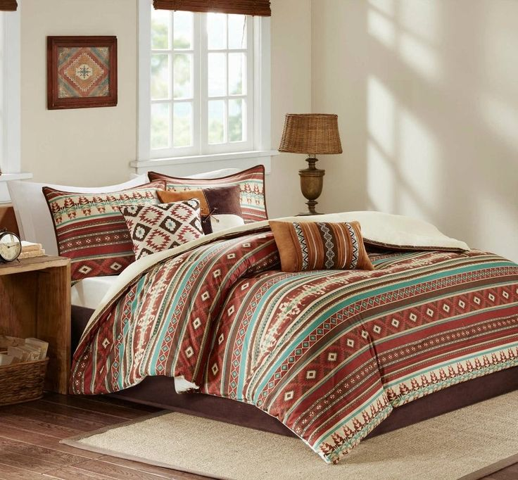 Southwest Aztec Comforter Set Queen 7PC Brown Bedding Cabin Lodge Native Style #SouthwesternStyleBedding #Lodge
