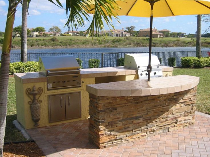 Fascinating Outside Bbq Kitchen Plans With Stone Veneer For Outdoor Kitchen Island Designs And Ceramic Tile Kitchen Countertops Also Canvas Outdoor Umbrella Table Stand