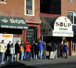 seinfeld made the soup nazi even more famous that it was already. the place was crazy during the week for lunch which explains the orderly ordering process. it was a bonus if you actually didn't get fruit or bread because you ordered incorrectly!