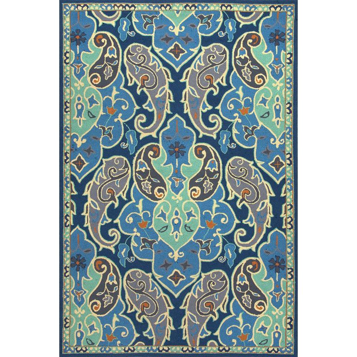 Barcelona Blue & Ivory Floral Indoor/Outdoor Area Rug
