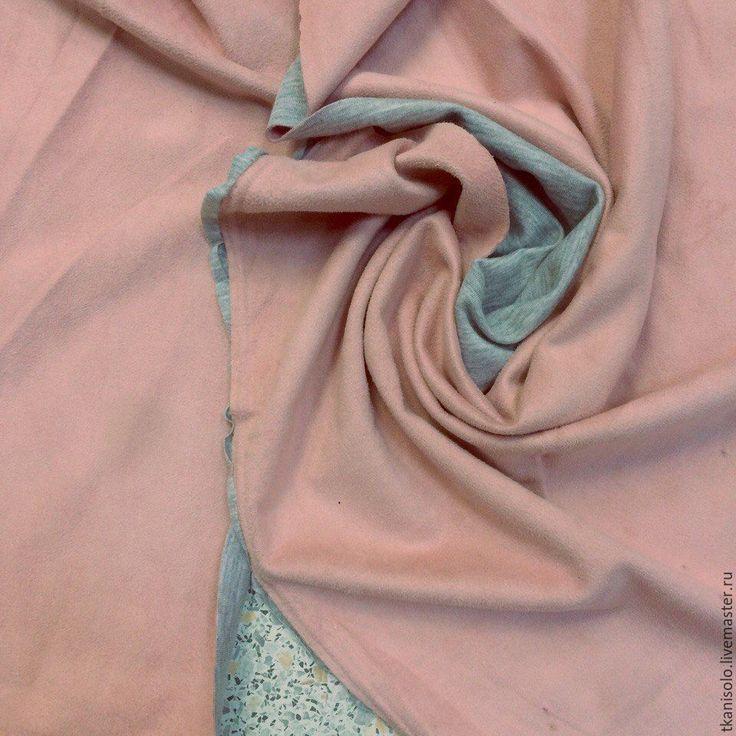 Купить Искусственная замша на трикотажной основе(розовый) - бледно-розовый, искуственная замша, италия, ткани Италии