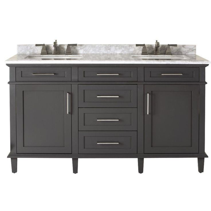 Home Decorators Collection Sonoma 60 in. Double Vanity in Dark Charcoal with Marble Vanity Top in Grey/White