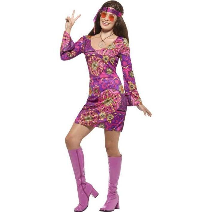 Disfraz de hippie malva para mujer