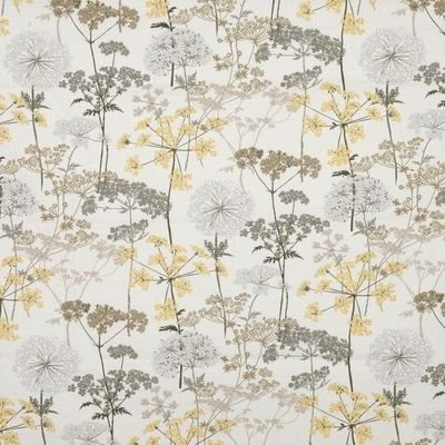 Yellow and Charcoal Hedgerow Curtain Fabric (terrysfabrics)