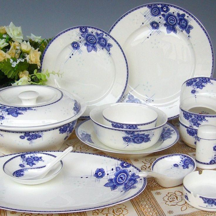 Bone China tableware set genuine special 56 skulls of Jingdezhen porcelain tableware set genuine blue-and-white