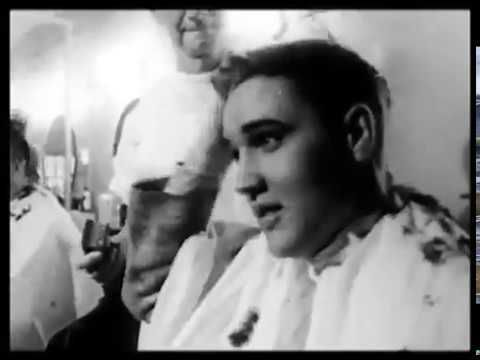 Elvis Presley gets his Army haircut in 1958