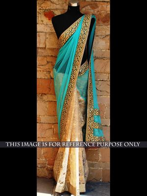 NEW LATEST SKY COLOR NYLONE NET & NYLONE NET EMBROIDERY WORK SAREE Bollywood Sarees Online on Shimply.com