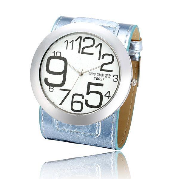 WOMAGE Women Big Number Big Dial PU Leather Quartz Watch