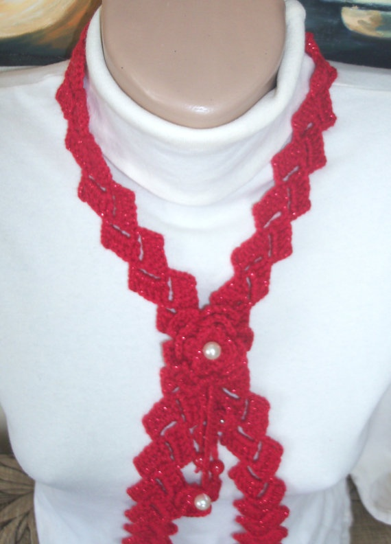women's red rose necklace by colourfulrose on Etsy, $14.90