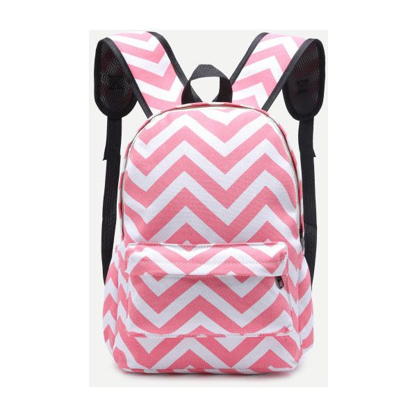 SheIn(sheinside) Pink Chevron Front Pocket Canvas Backpack (885 INR) ❤ liked on Polyvore featuring bags, backpacks, chevron backpack, chevron print backpack, canvas backpack, canvas knapsack and rucksack bags