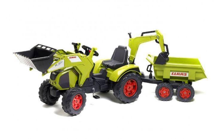 Claas traktor med boggiekärra och grävarm.