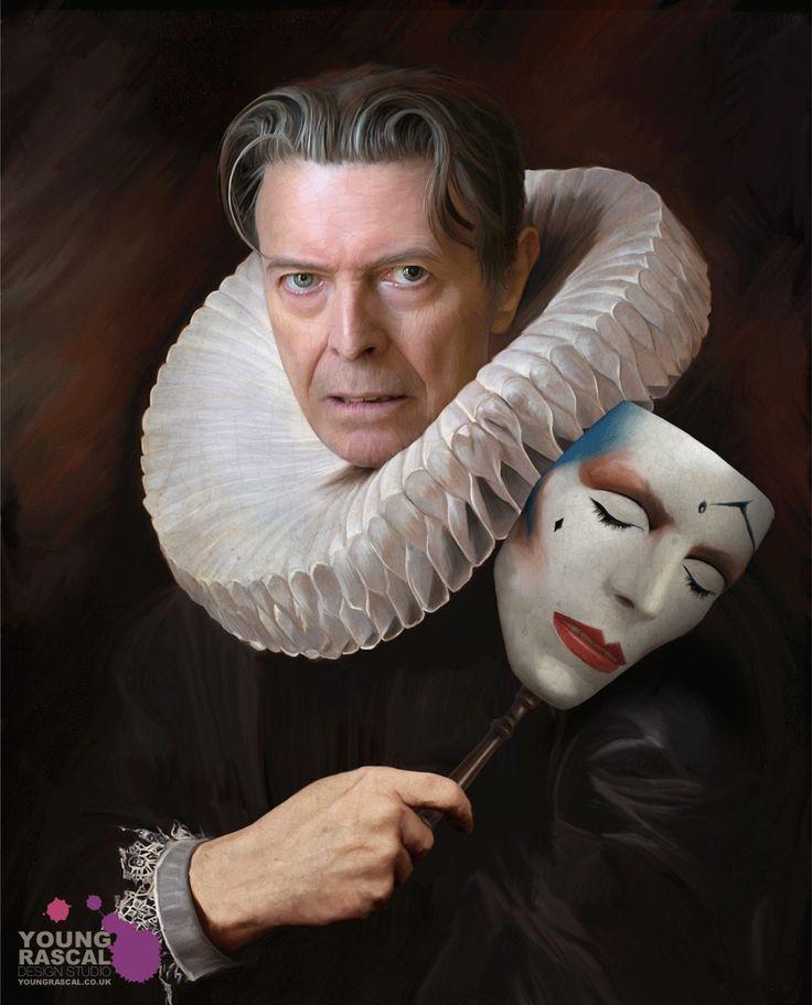 DAVID BOWIE in Elizabethan collar with mask of himself. (please follow minkshmink on pinterest)