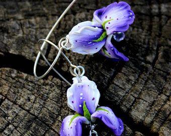 925 orecchini in argento, gioielli fatti di argilla polimerica, ladies dono di gioielli in argento, gioielli dell'argilla del polimero, gioielli in argento di fiori di Iris