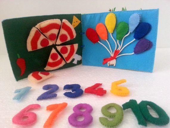 Quiet book idea #quietbook #activitybook #countingbook #educationalbook #fabricbook #quietbookpages  #feltpizza #rainbow #feltnumbers #shapes