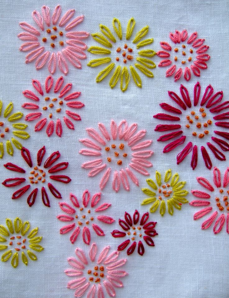 Embroidered flowers from Jane Brocket.  This would be so lovely on grey linen too!