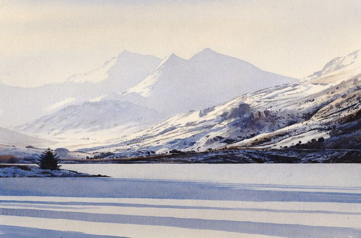 Shadows on the ice, an original watercolour painting by Rob Piercy