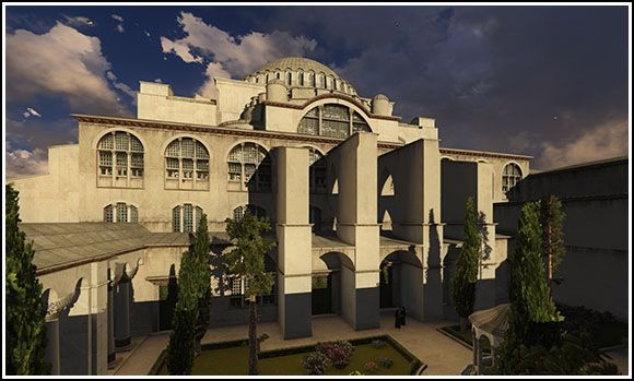 Hagia Sophia (Constantinople, Byzantine Empire) - digital art reconstruction of the atrium before the church.