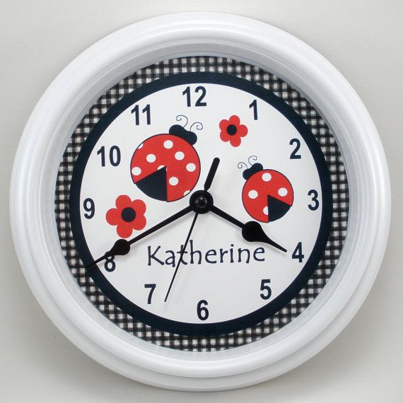 Personalized LADYBUG Nursery Wall Clock