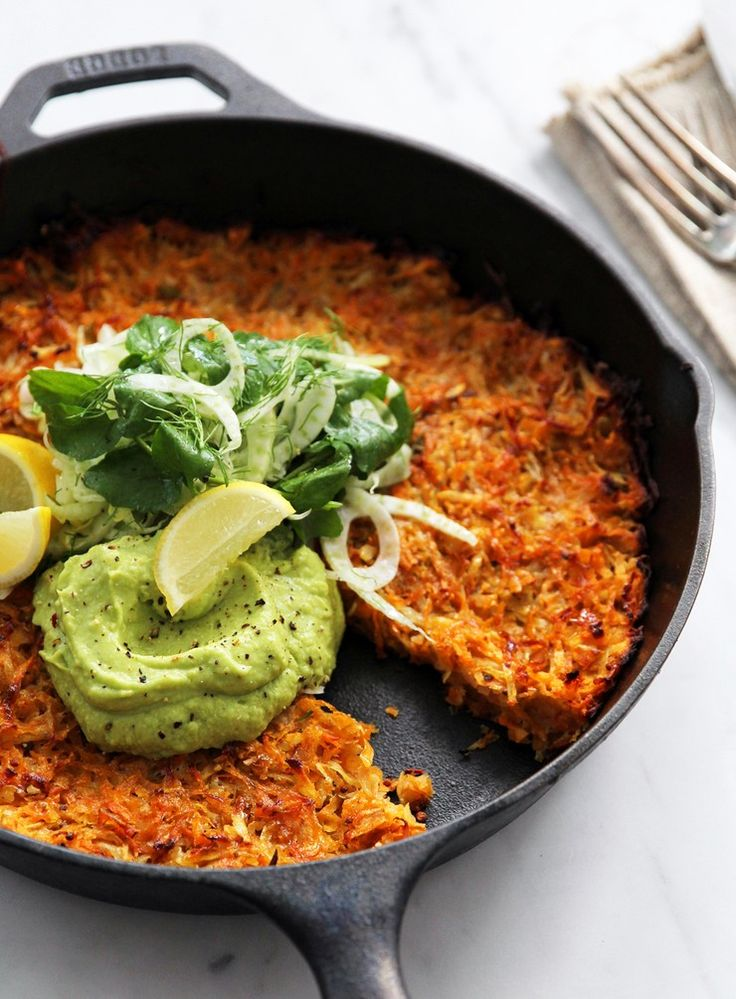 Root Vegetable Skillet Rosti with Fennel Watercress Salad and Avocado Pea Cream