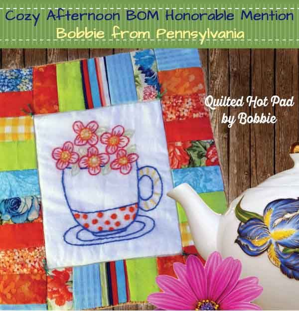 Sweet embroidery on this Cozy Afternoon Block of the Month quilt! Winner-Honorable Mention 2.