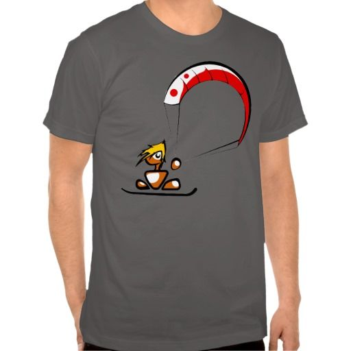The cool kitesurfing dude cartoon t-shirt