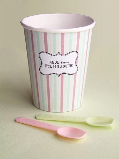 """DIY Free printable...print ice cream paper cup design and wrap around cup and stick with glue or double tape. Ice-Cream Parlour """"Make your own Sundaes"""" Buffet"""