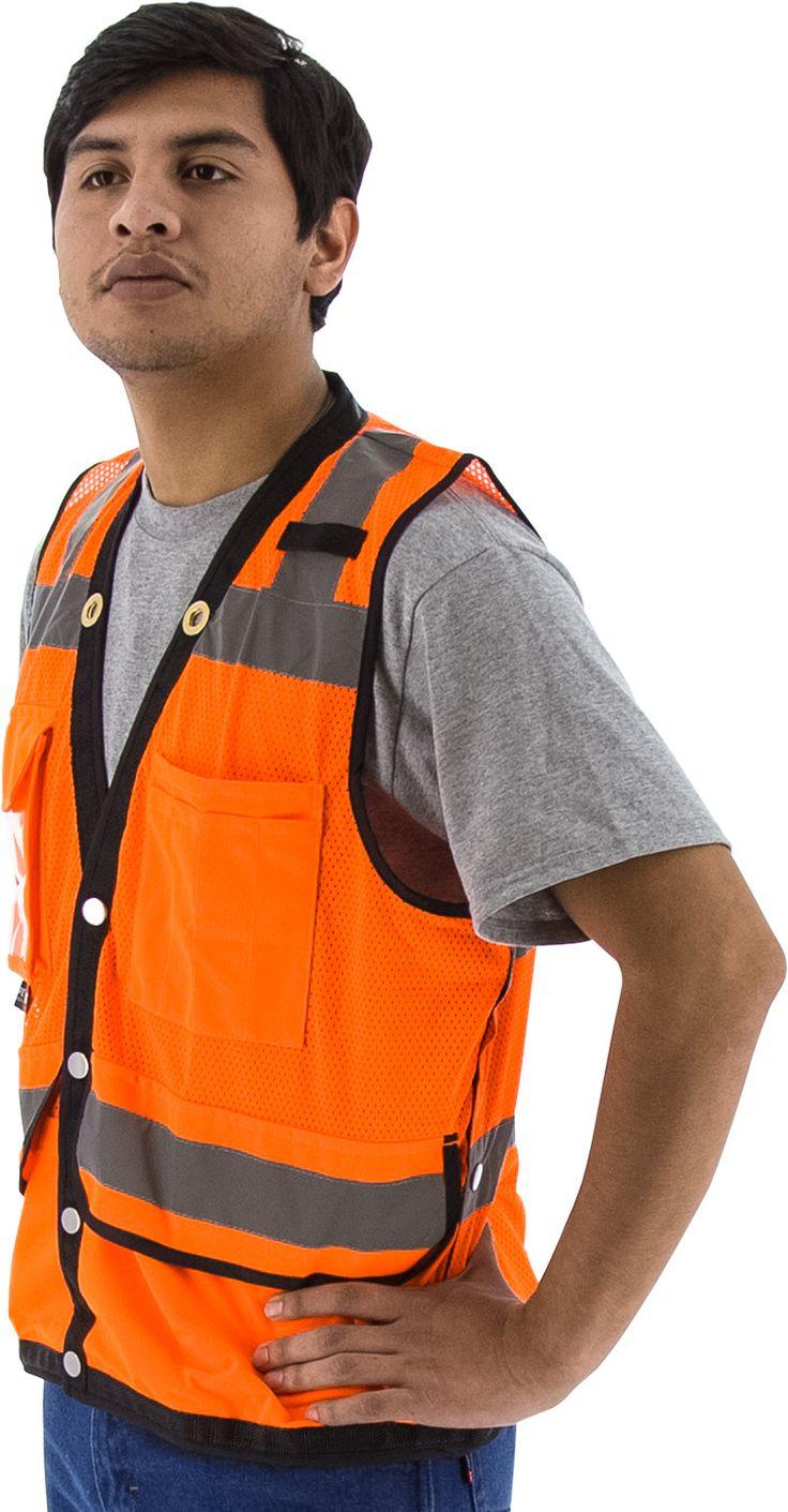 Majestic 75-3208 Hi Vis Orange Heavy Duty Safety Vest ANSI Class 2 Snap Front