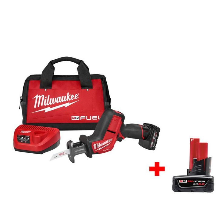 Milwaukee M12 Fuel 12-Volt Lithium-Ion Cordless Hackzall Reciprocating Saw Kit with 6.0Ah Battery