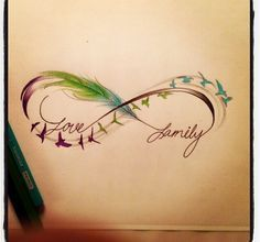 Infinity sign- feathers, birds, love + family An idea to play with. I want to update my open-hearts tattoo.