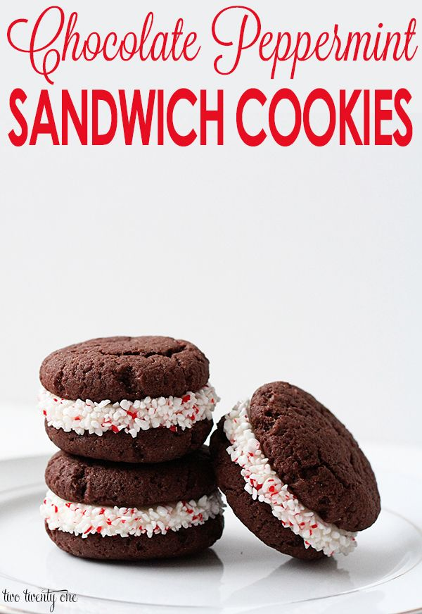 chocolate peppermint sandwich cookies recipe #christmas #cookie