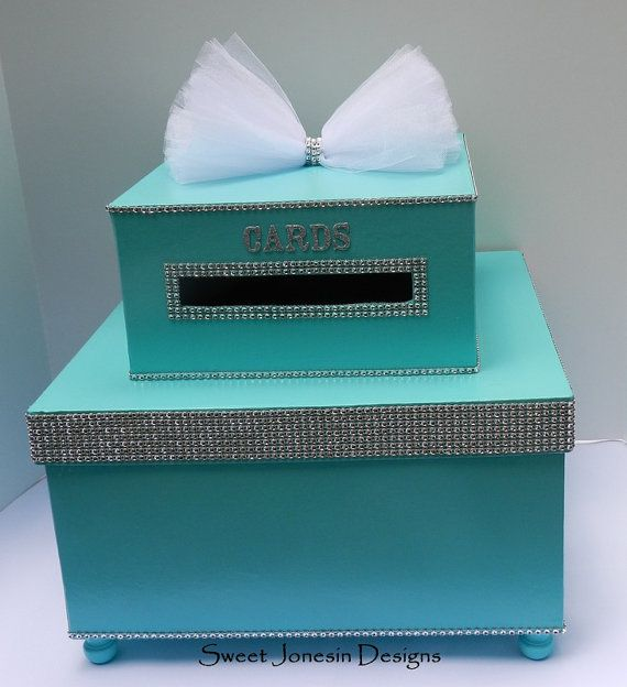 Good Baby Shower Envelope Box Part - 3: Wedding Card Box Bling Mesh Wrap Money Box Sweet Sixteen Baby Shower  Mitzvah Aqua Blue